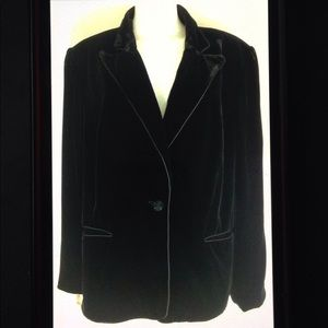 Jones NY Suit Plus Size Lined Velvet Button Blazer